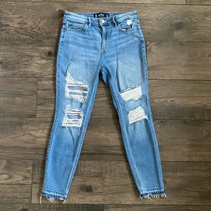 Hollister High Rise Skinny Crop Distressed Jeans